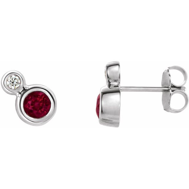 Chatham Created Ruby Earrings in Platinum Chatham Created Ruby & 1/8 Carat Diamond Earrings