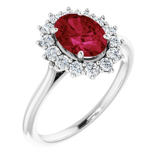 Chatham Created Ruby Ring in Platinum Chatham Created Ruby & 3/8 Carat Diamond Ring