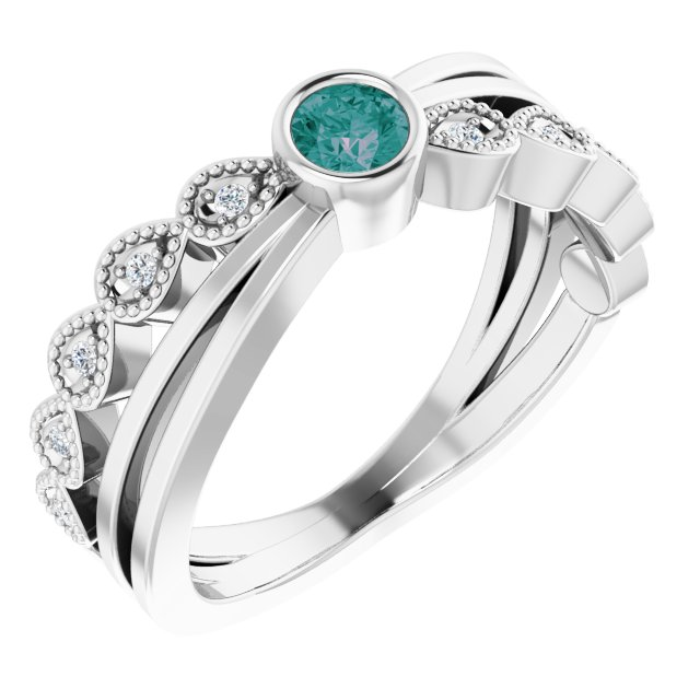 Chatham Created Alexandrite Ring in Platinum Chatham Lab-Created Alexandrite & .05 Carat Diamond Ring
