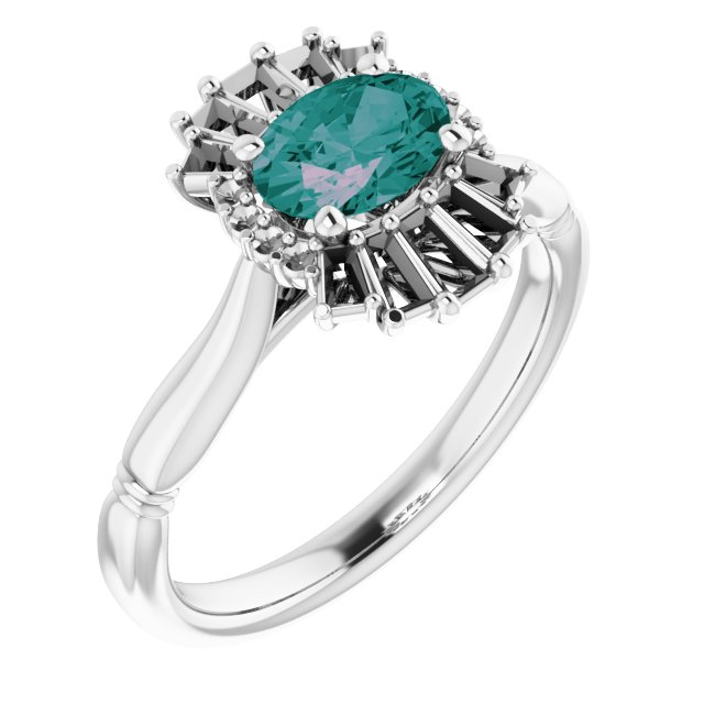 Chatham Created Alexandrite Ring in Platinum Chatham Lab-Created Alexandrite & 1/4 Carat Diamond Ring