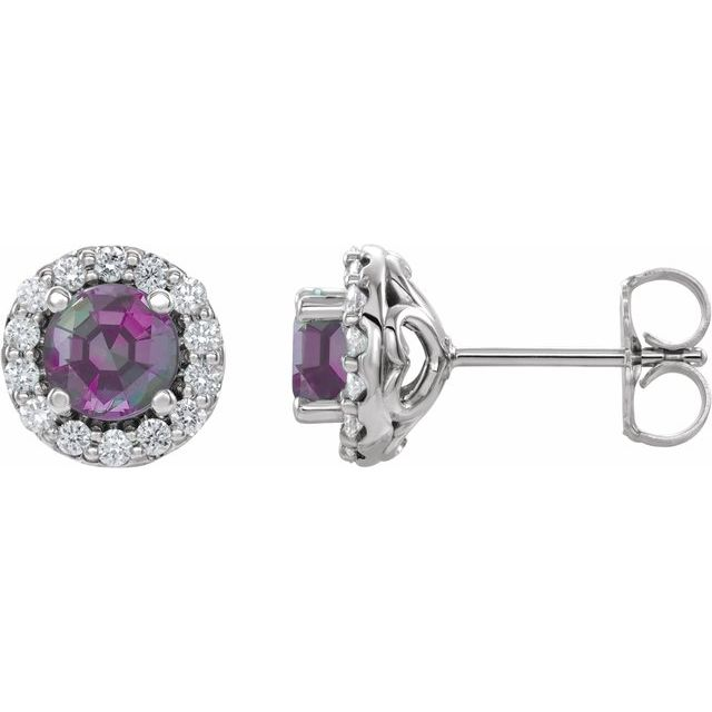 Color Change Chatham  Alexandrite Earrings in Platinum Chatham Lab- Alexandrite & 1/4 Diamond Earrings
