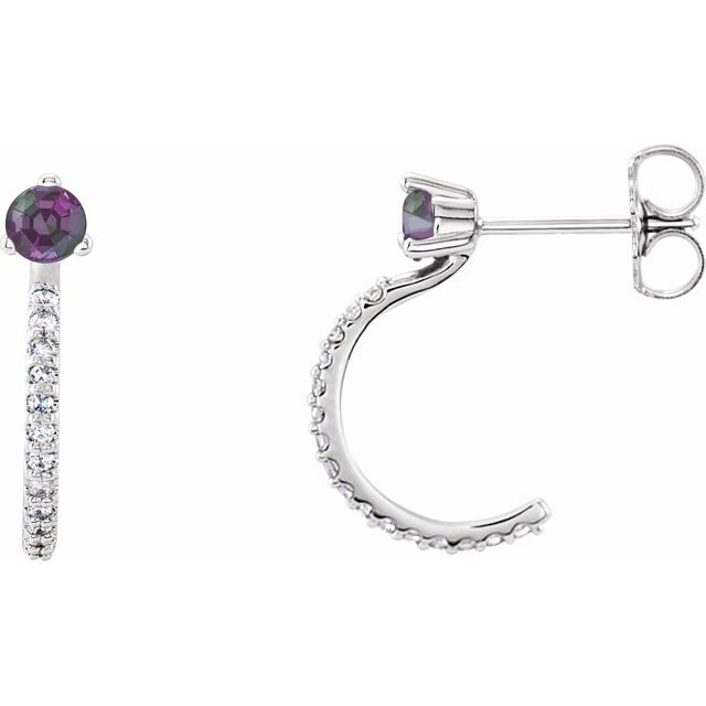 Color Change Chatham  Alexandrite Earrings in Platinum Chatham Lab- Alexandrite & 1/6 Carat Diamond Hoop Earrings