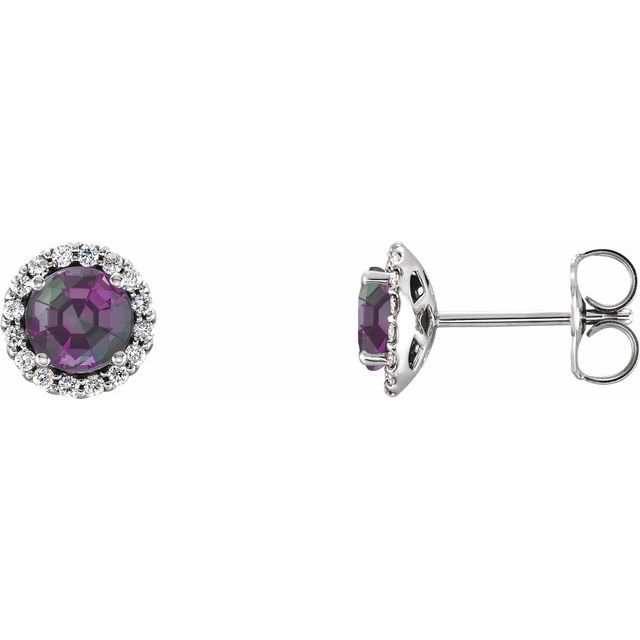 Color Change Chatham  Alexandrite Earrings in Platinum Chatham Lab- Alexandrite & 1/8 Carat Diamond Earrings