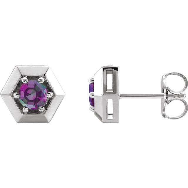 Color Change Chatham  Alexandrite Earrings in Platinum Chatham Lab- Alexandrite Geometric Earrings