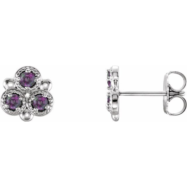 Color Change Chatham  Alexandrite Earrings in Platinum Chatham Lab- Alexandrite Three-Stone Earrings