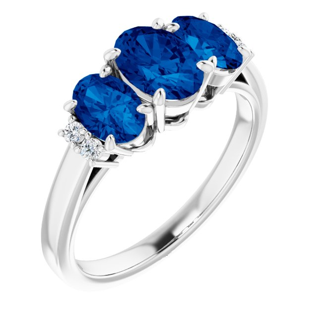 Created Sapphire Ring in Platinum Chatham Lab-Created  Sapphire & .05 Carat Diamond Ring