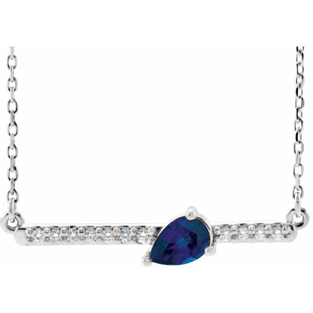 Chatham Created Sapphire Necklace in Platinum Chatham Lab-Created  Sapphire & 1/10 Carat Diamond Bar 18