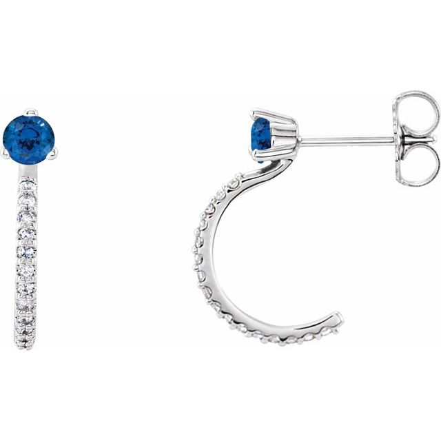Genuine Chatham Created Sapphire Earrings in Platinum Chatham Lab-Created Genuine Sapphire & 1/6 Carat Diamond Hoop Earrings