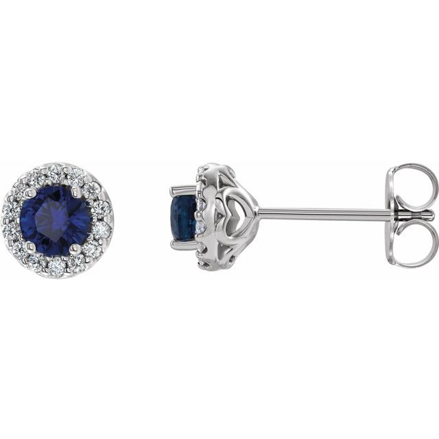 Genuine Created Sapphire Earrings in Platinum Chatham Lab-Created Genuine Sapphire & 1/6 Diamond Earrings