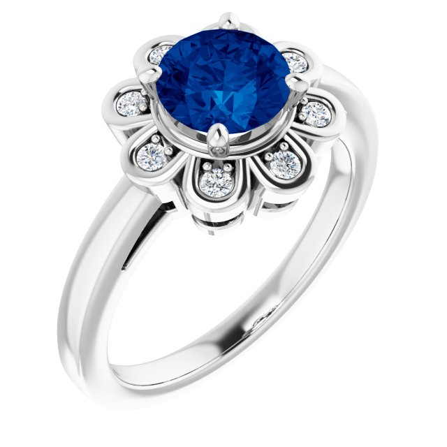 Chatham Created Sapphire Ring in Platinum Chatham Lab-Created Genuine Sapphire & 1/8 Carat Diamond Ring