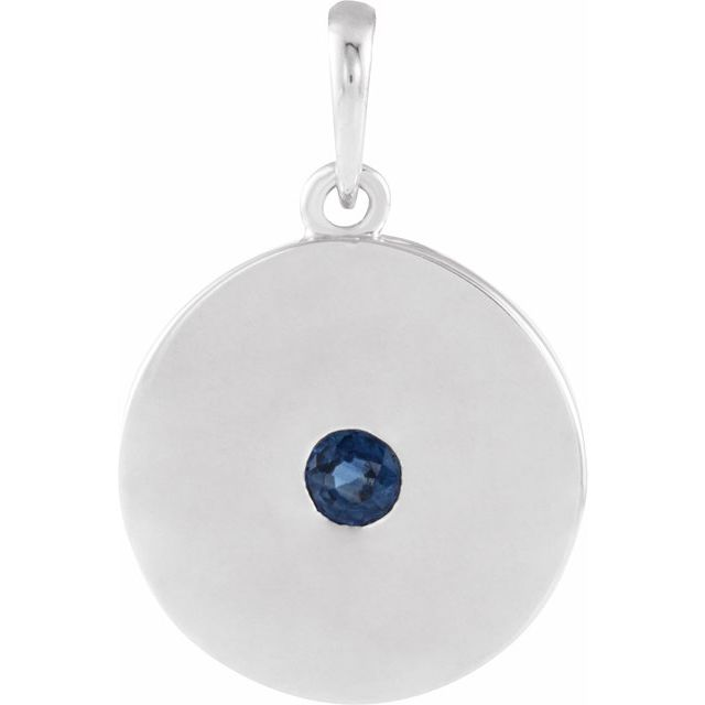 Genuine Chatham Created Sapphire Pendant in Platinum Chatham Lab-Created Genuine Sapphire Disc Pendant
