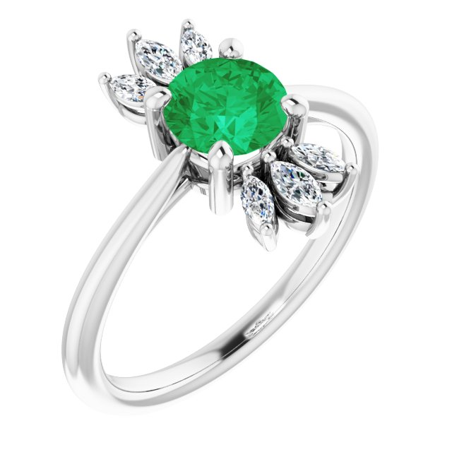 Chatham Created Emerald Ring in Platinum Chatham Lab-Created Emerald & 1/4 Carat Diamond Ring