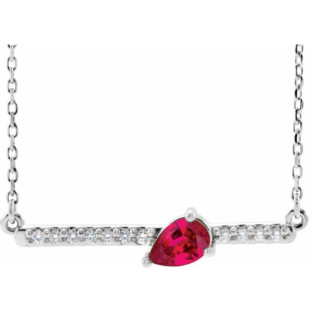 Chatham Created Ruby Necklace in Platinum Chatham Lab-Created Ruby & 1/10 Carat Diamond Bar 16