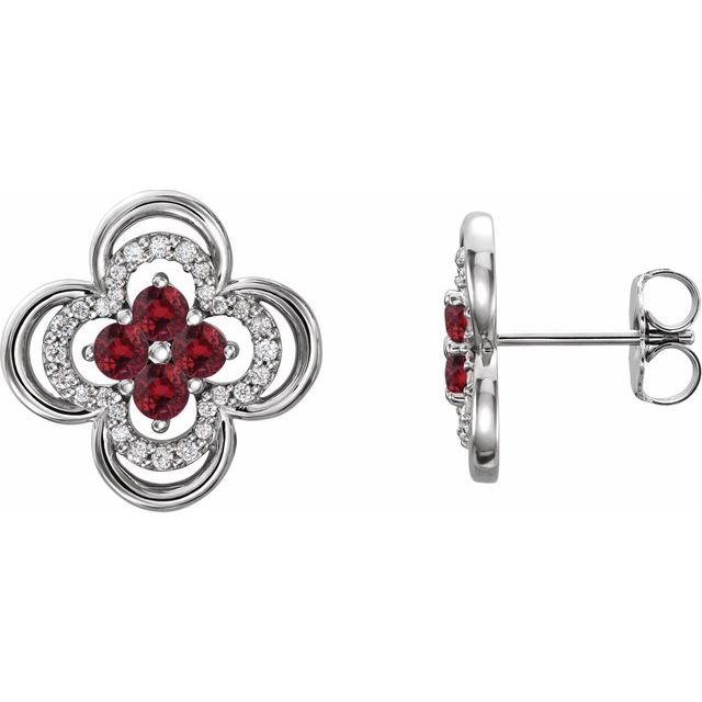 Chatham Created Ruby Earrings in Platinum Chatham Lab-Created Ruby & 1/5 Carat Diamond Clover Earrings