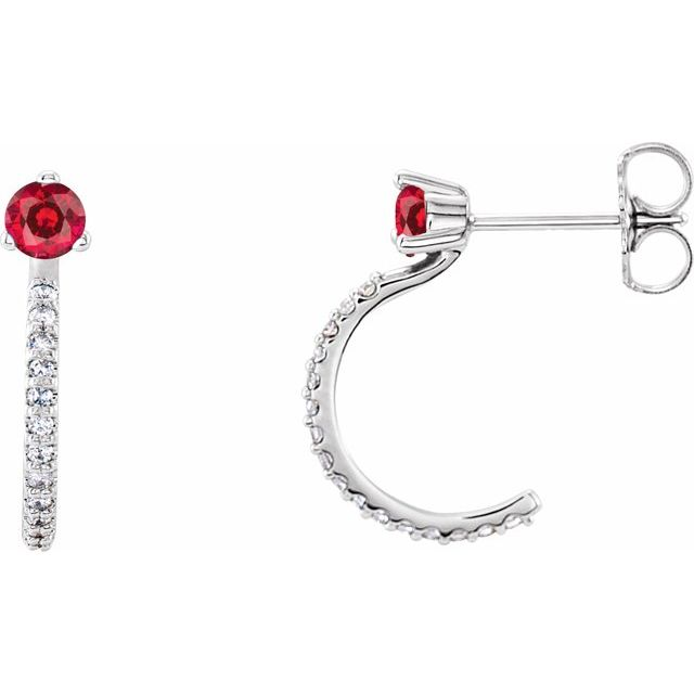 Chatham Created Ruby Earrings in Platinum Chatham Lab-Created Ruby & 1/6 Carat Diamond Hoop Earrings