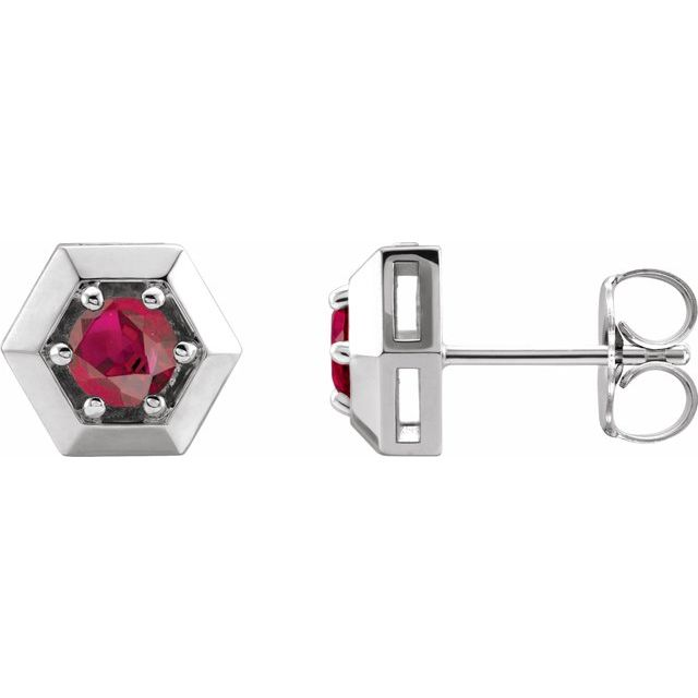 Chatham Created Ruby Earrings in Platinum Chatham Lab-Created Ruby Geometric Earrings