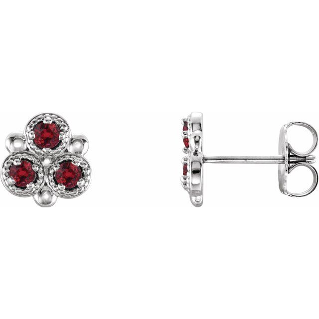 Chatham Created Ruby Earrings in Platinum Chatham Lab-Created Ruby Three-Stone Earrings