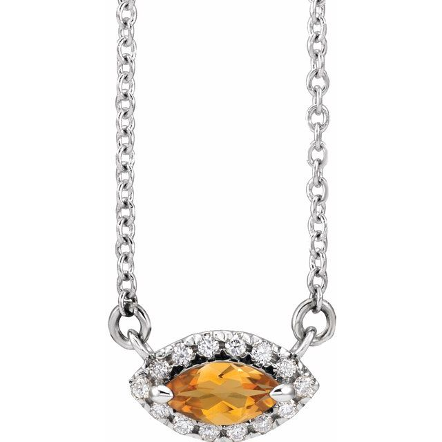 Golden Citrine Necklace in Platinum Citrine & .05 Carat Diamond Halo-Style 18