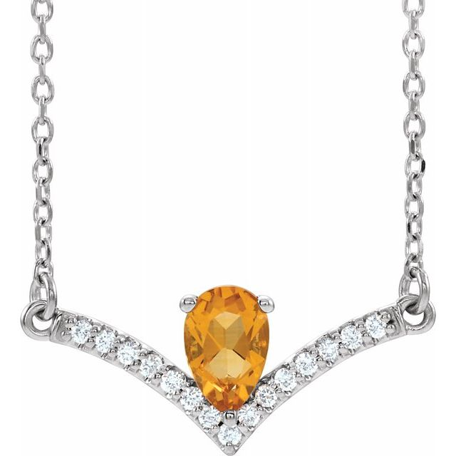 Golden Citrine Necklace in Platinum Citrine & .06 Carat Diamond 16