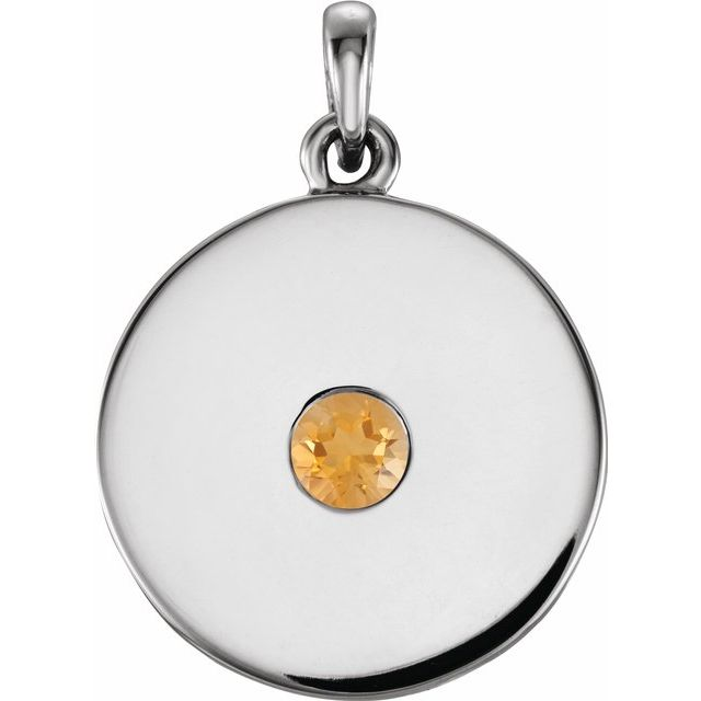 Golden Citrine Pendant in Platinum Citrine Disc Pendant