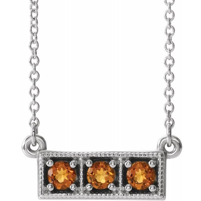 Golden Citrine Necklace in Platinum Citrine Three-Stone Granulated Bar 16-18