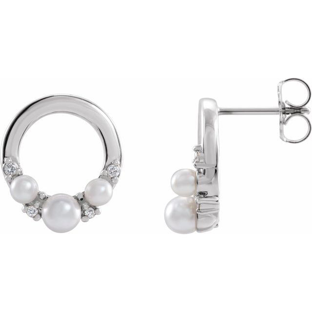 Genuine Seed Pearl Earrings in Platinum Cultured Seed Pearl & .06 Carat Diamond Circle Earrings