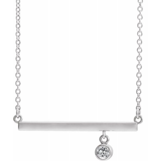 Real Diamond Necklace in Platinum Diamond Bezel-Set 16