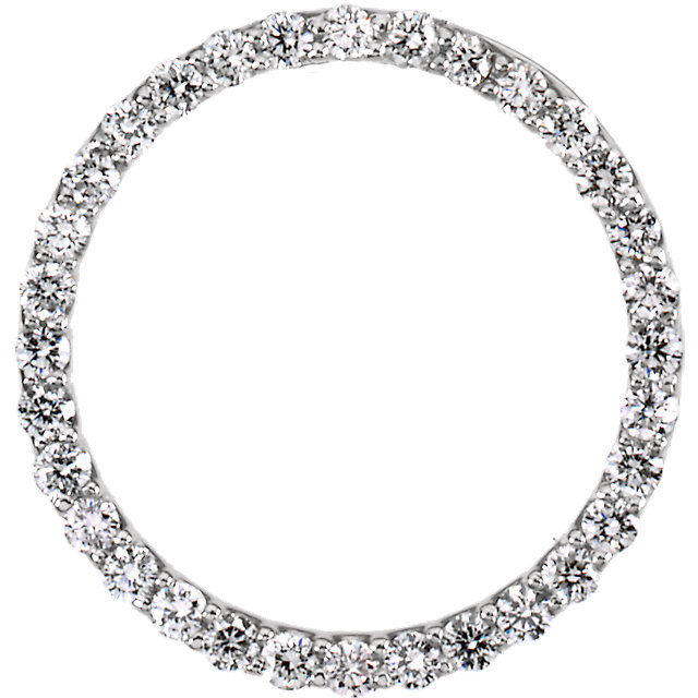 Contemporary Platinum Diamond Circle Pendant