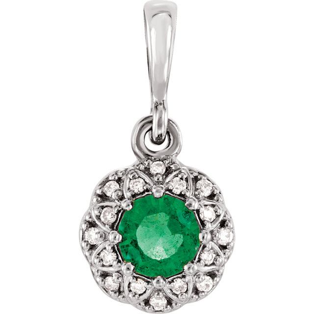 Fantastic Platinum Round Genuine Emerald & .06 Carat Total Weight Diamond Halo-Style Pendant