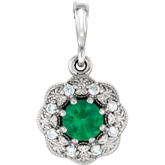 Gorgeous Platinum Round Genuine Emerald & .06 Carat Total Weight Diamond Pendant