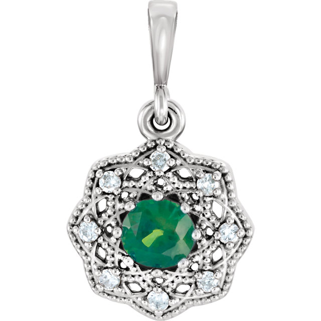 Incredible Platinum Round Genuine Emerald & .06 Carat Total Weight Diamond Halo-Style Pendant