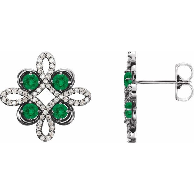 Genuine Emerald Earrings in Platinum Emerald & 1/4 Carat Diamond Earrings