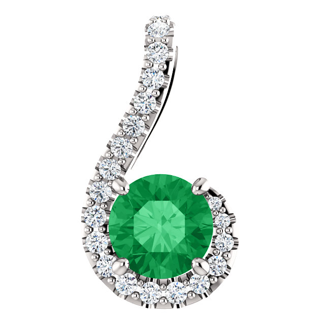 Chic Platinum Round Genuine Emerald & 1/6 Carat Total Weight Diamond Pendant