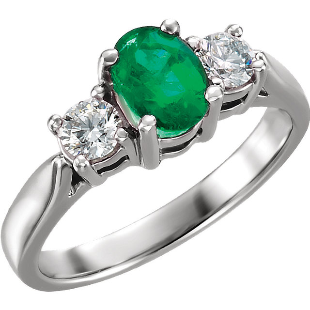 Perfect Gift Idea in Platinum Emerald & 0.40 Carat Total Weight Diamond Ring