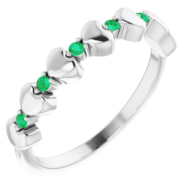 Emerald Ring in Platinum Emerald Stackable Heart Ring