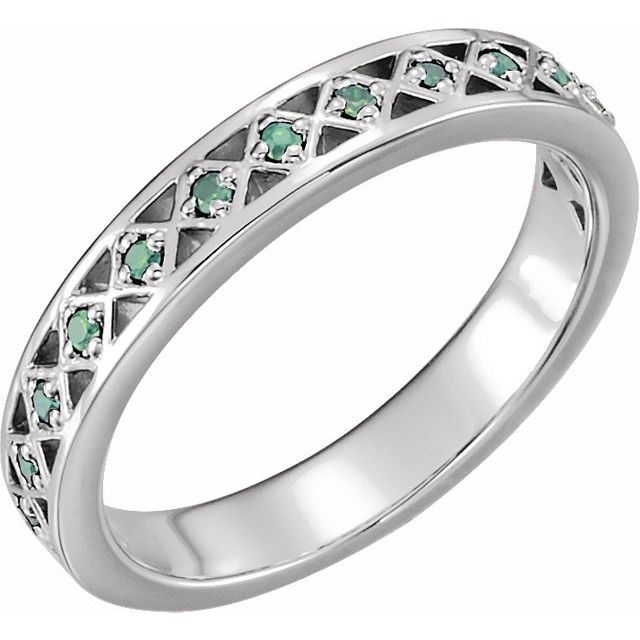 Emerald Ring in Platinum Emerald Stackable Ring