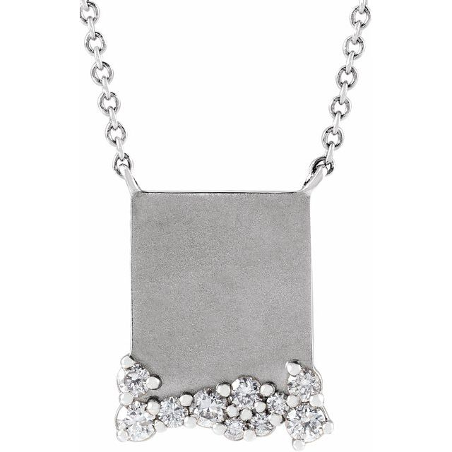 Real Diamond Necklace in Platinum Engravable 1/5 Carat Diamond 16