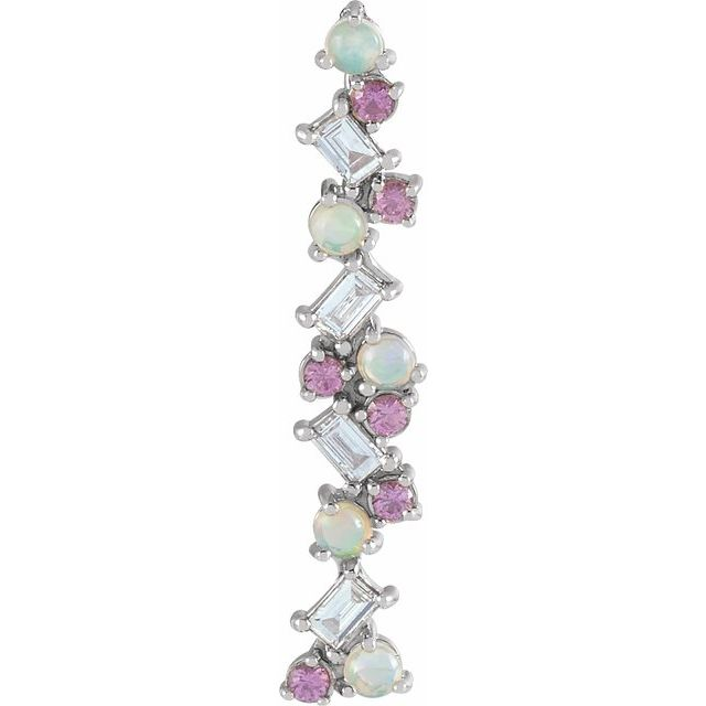 Multi-Gemstone Pendant in Platinum Ethiopian Opal, Pink Sapphire & 1/8 Carat Diamond Scattered Bar Pendant