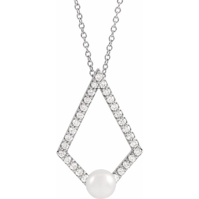 Real Cultured Freshwater Pearl Necklace in Platinum Freshwater Cultured Pearl & 1/4 Carat Diamond Geometric 16-18