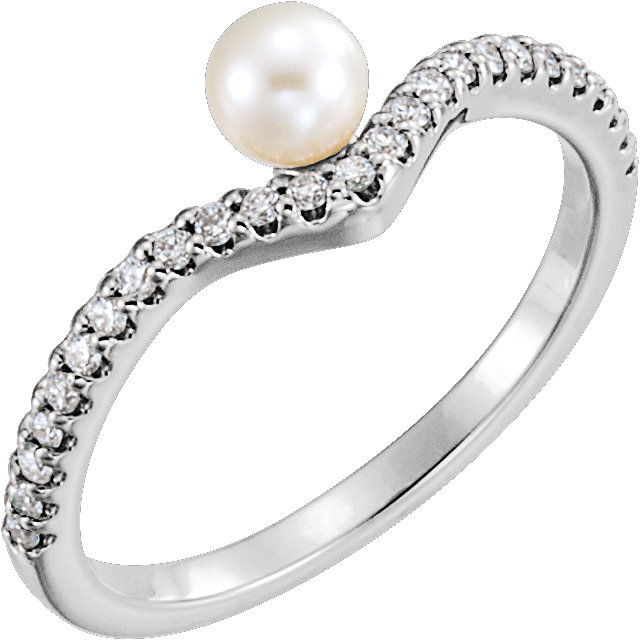 Gorgeous Platinum Freshwater Cultured Pearl & 0.20 Carat Total Weight Diamond Asymmetrical Ring