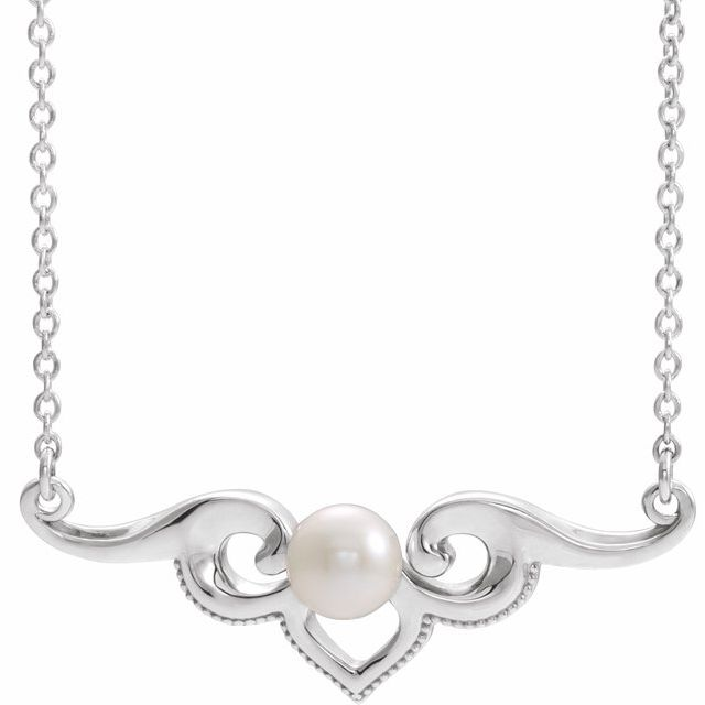 Real Cultured Freshwater Pearl Necklace in Platinum Freshwater Cultured Pearl Bar 18