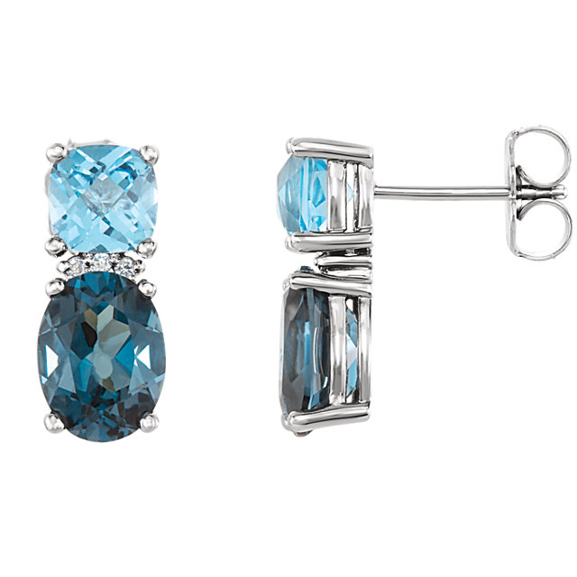 Gorgeous Platinum London Blue Topaz, Swiss Blue Topaz & .01 Carat Total Weight Diamond Earrings