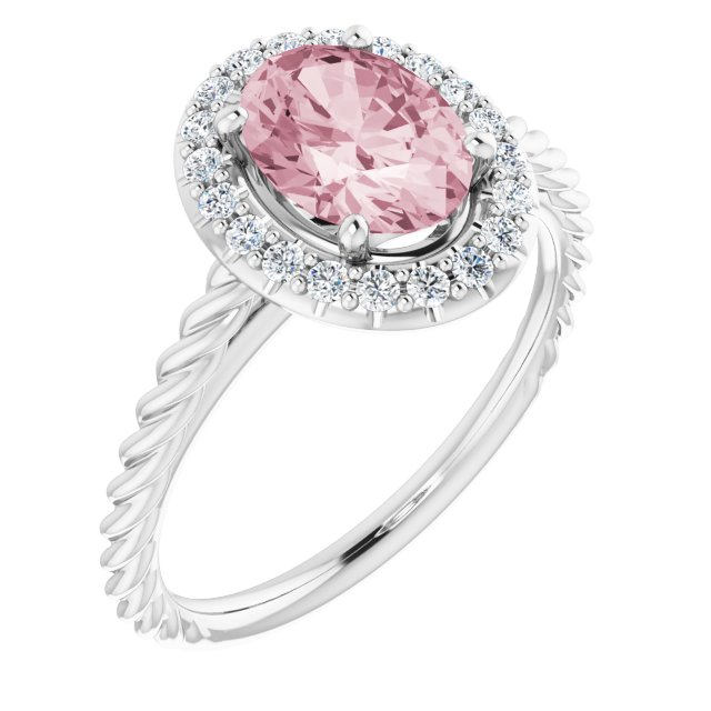 Pink Morganite Ring in Platinum Morganite & 1/6 Carat Diamond Ring