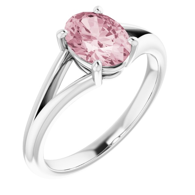 Pink Morganite Ring in Platinum Morganite Ring