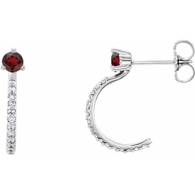 Red Garnet Earrings in Platinum Mozambique Garnet & 1/6 Carat Diamond Hoop Earrings
