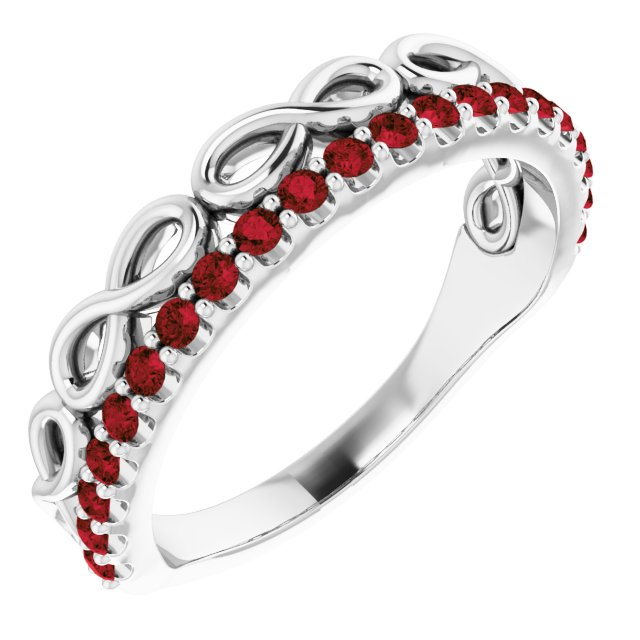 Red Garnet Ring in Platinum Mozambique Garnet Infinity-Inspired Stackable Ring
