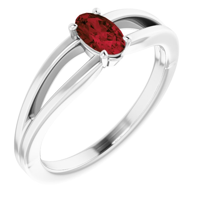Red Garnet Ring in Platinum Mozambique Garnet Solitaire Youth Ring
