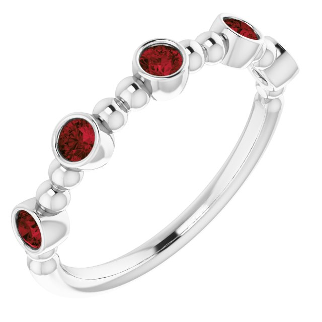 Red Garnet Ring in Platinum Mozambique Garnet Stackable Beaded Ring