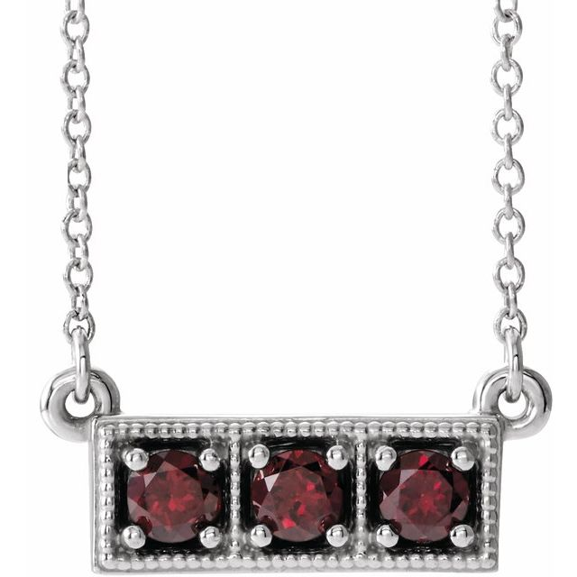 Red Garnet Necklace in Platinum Mozambique Garnet Three-Stone Granulated Bar 16-18