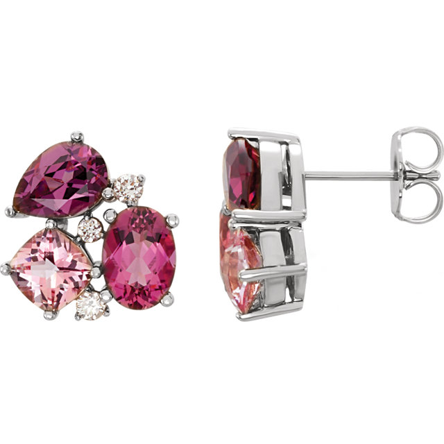 Great Gift in Platinum Multi-Gemstone & 0.17 Carat Total Weight Diamond Earrings